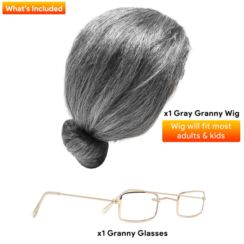 Old Lady Costume Set - Grey Granny Wig and Fake Gold Rectangle Eyeglasses Grandma Set for Women and Girls