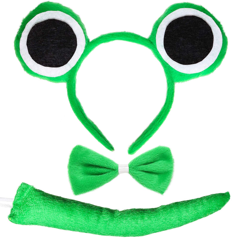 Frog Costume Accessories Set - Plush Green Frog Eyes Headband, Bowtie and Tail Toad Accessory Kit for Kids and Toddlers