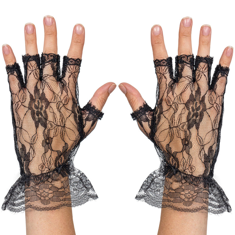 Fingerless Lace Black Gloves - Ladies and Girls Ruffled Lace Finger Free Bridal Wrist Gloves