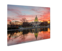 Load image into Gallery viewer, Metal Panel Print, Washington Dc Capitol Building Cloudy Sunrise Mirror Reflection