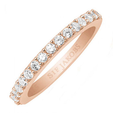 Sif Jakobs Ladies Rose Gold-Plated 'Corte Uno' White Cubic Zirconia Eternity Ring SJ-R10811-CZ/56