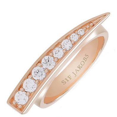 Sif Jakobs Ladies Rose Gold-Plated 'Pila' Graduated White Cubic Zirconia Ring SJ-R1010-CZ/54