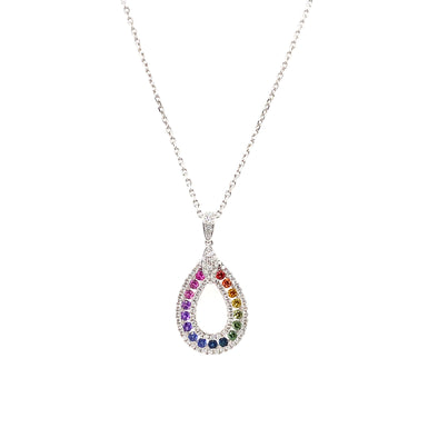 18ct White Gold Multicolored Stone Necklace