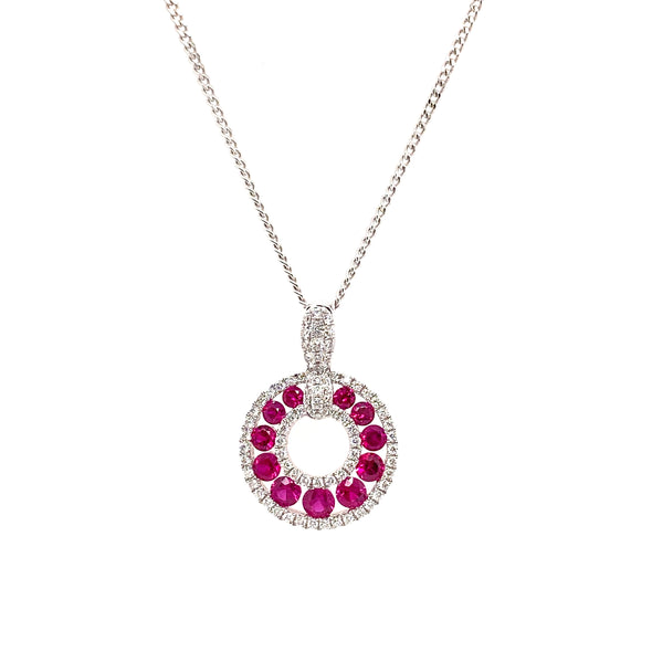 18ct White Gold Ruby & Diamond Necklace