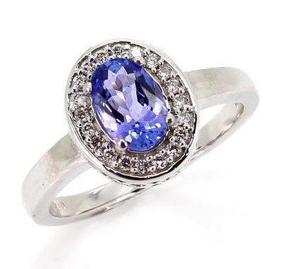 18ct Tanzanite & Diamond Cluster Ring