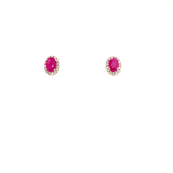 9ct Ruby & Diamond Cluster Earrings