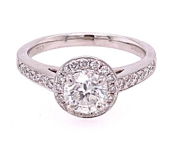 18ct White Gold Diamond Halo Ring ASM1521