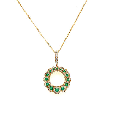 18ct Yellow Gold Emerald & Diamond Necklace