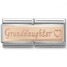Nomination  DOUBLE Rose  Gold Granddaughter charm 430710-09