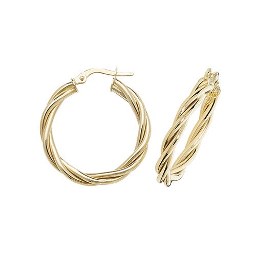 9ct Yellow Gold Twisted 20mm Hoop Earrings