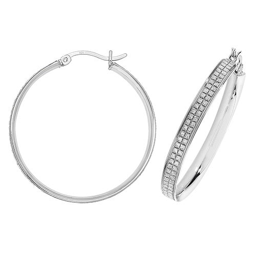Silver 30mm Square Detailed Moondust Hoop Earrings