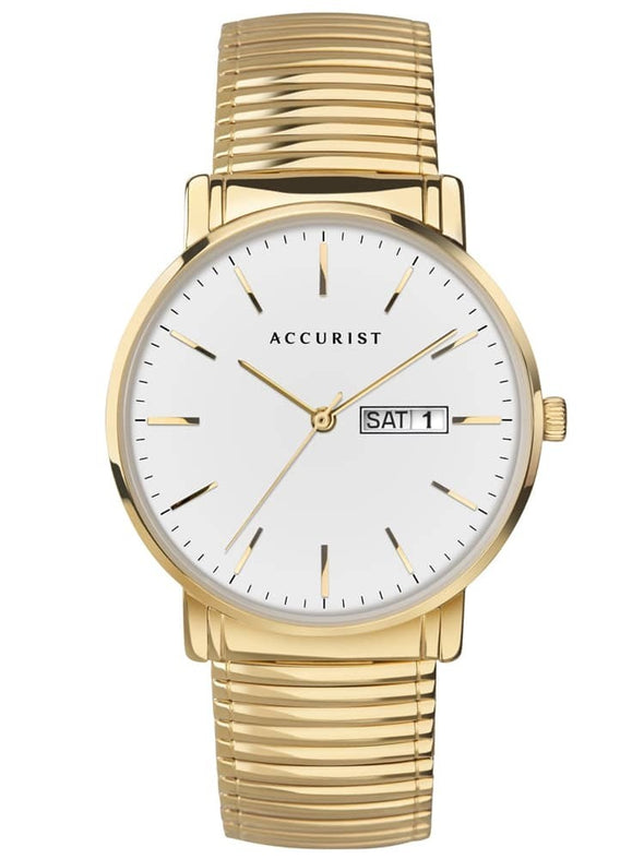 Accurist Mens Gold Plated Classic White Day Date Dial Expandable Bracelet Watch 7300