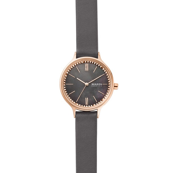 Skagen Ladies Gray Leather Strap Rose Dial Watch SKW2909