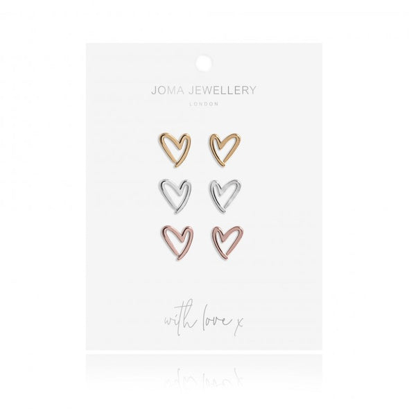 Joma Jewellery Florence Outline Heart Earring Set 3271