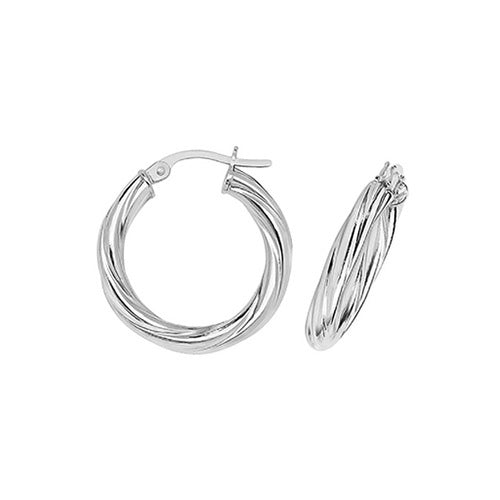 9ct White Gold Twisted 15mm Hoop Earrings