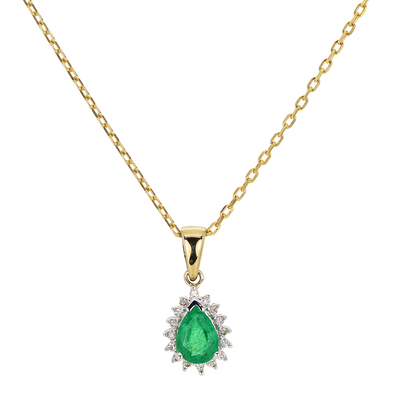 9ct Gold Emerald & Diamond Pendant DEP393