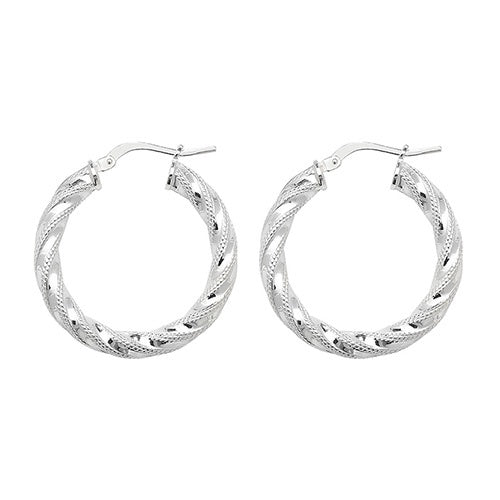 Silver 20mm Diamond Cut Twisted Hoop Earrings