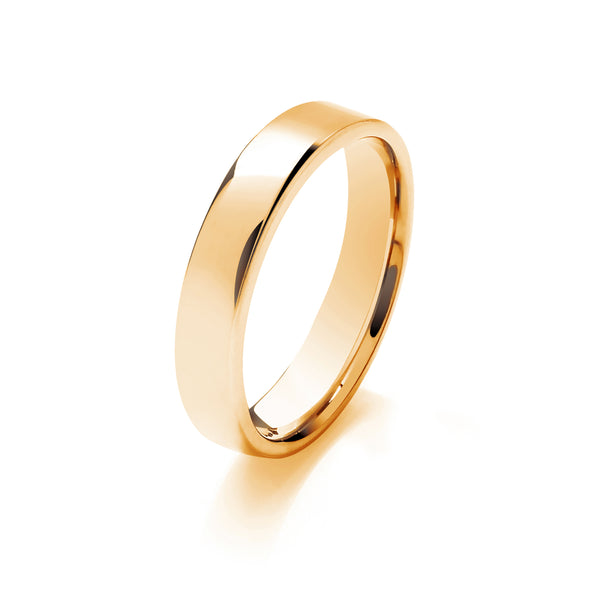 Ladies Lightweight Flat Court Wedding Ring - Click To Choose Width & Metal