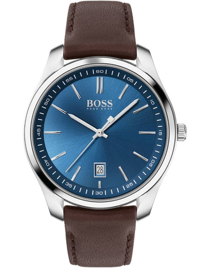 Hugo Boss Gents Watch Blue Dial Brown Leather Strap 1513728