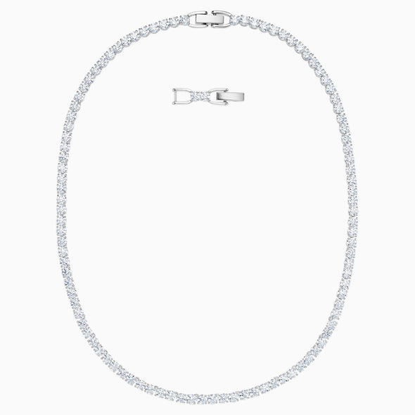 Swarovski Deluxe White Crystal Rhodium Plated Tennis Necklace 5494605