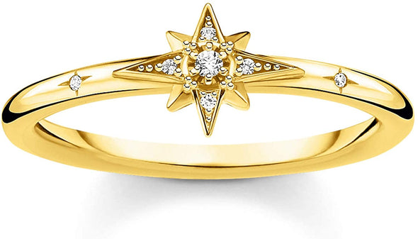 Thomas Sabo Size 54 Gold Plated Cubic Zirconia Pavé Star Ring TR2317-414-14-56