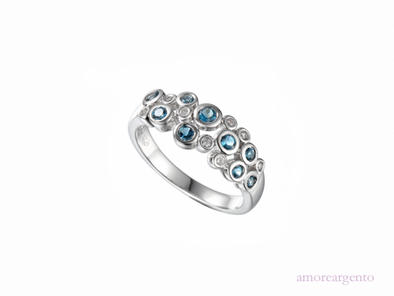 Silver Bubble Blue Topaz Ring