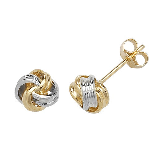 9ct Yellow/White Gold Knot Stud Earrings
