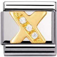 Nomination Gold CZ Letter X Charm 030301-24