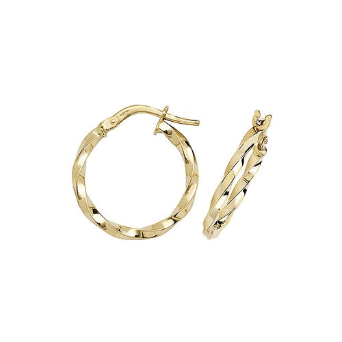 9ct Yellow Gold Twisted 15mm Hoop Earrings