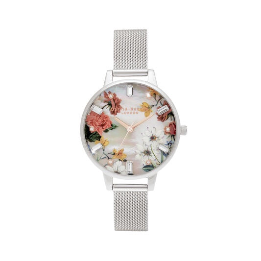 Olivia Burton Demi Mother Of Pearl Dial Silver Mesh Watch OB16BF32