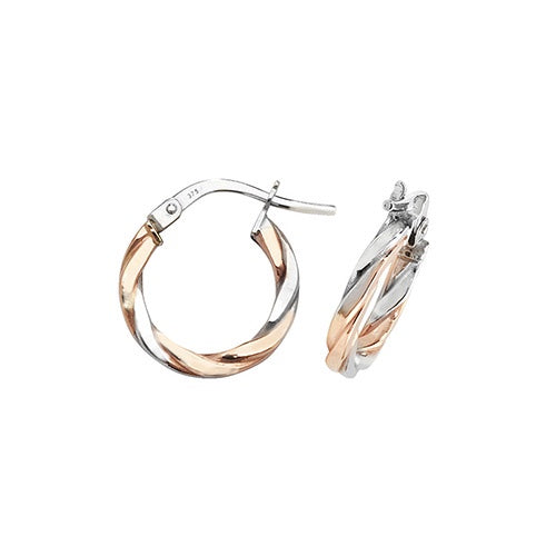 9ct Rose/White Gold Twisted 10mm Hoop Earrings