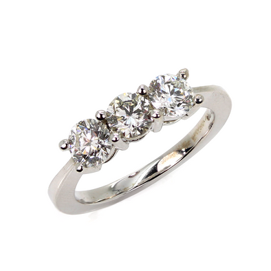 18ct White Gold Trilogy Diamond Ring