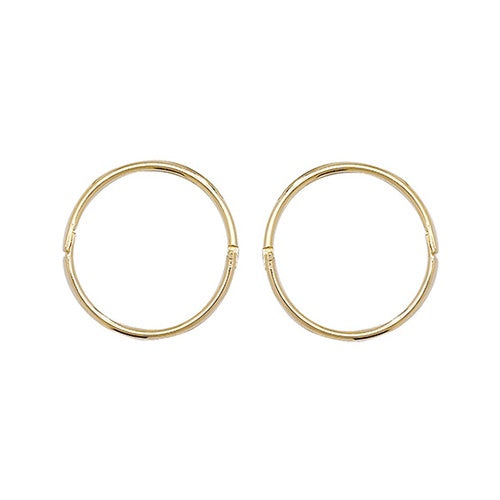 9ct Yellow Gold 12mm Hinged Sleepers Hoop Earrings