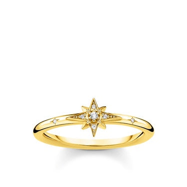 Thomas Sabo Size 52 Gold Plated Pave Star Ring TR2317-414-14-52