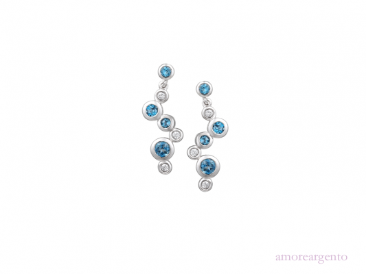 Silver Bubble Blue Topaz Earrings