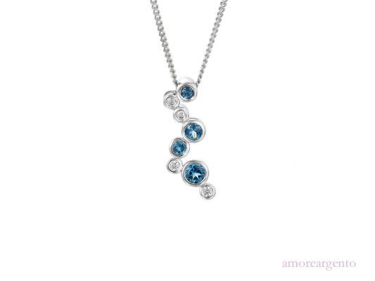 Silver Bubble Blue Topaz Pendant