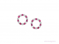 Silver Ruby & CZ Circle Earrings