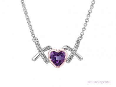 Amethyst & CZ Love Kiss Necklace