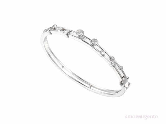 Silver Cubic Zirconia Two Row Bangle