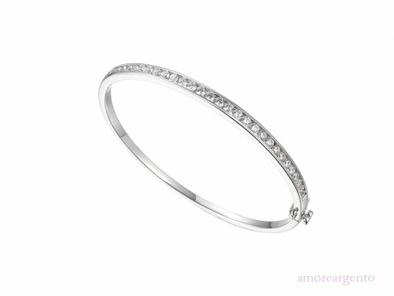 Silver Channel Set Bangle