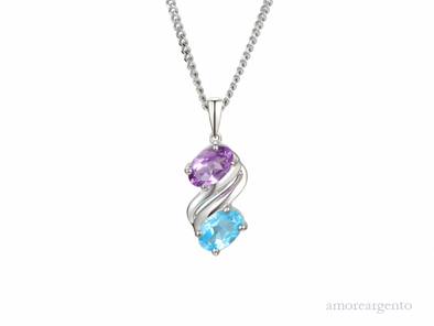 Silver Amethyst Oval Necklace