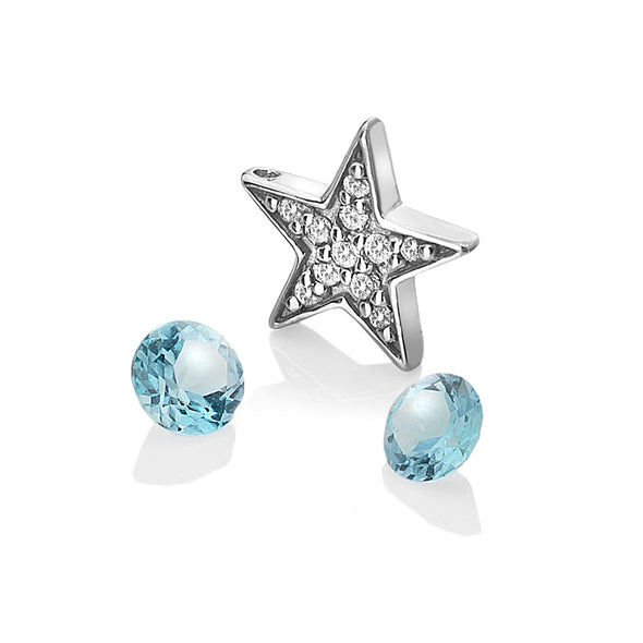 Hot Diamonds Anais Silver Star & Blue Topaz Charm AC110
