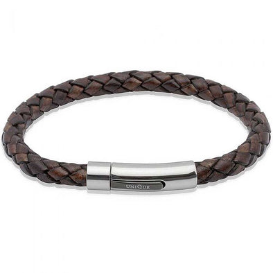 Unique & Co Dark Brown Leather Bracelet 19cm B170ADB/19cm