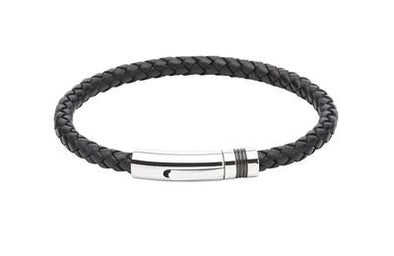 Unique & Co Black Leather Bracelet B345BL/19cm