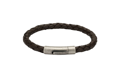 Unique & Co Dark Brown Leather Bracelet B370DB/19cm
