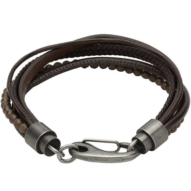 Unique & Co Dark Brown Leather Hematite Beaded Bracelet 21cm B387DB/21cm