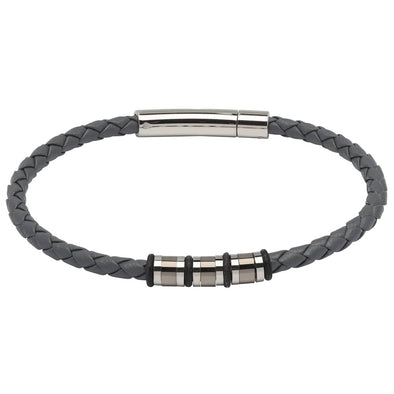 Unique & Co Grey Leather Bracelet Gunmetal 21cm B404GR/21cm