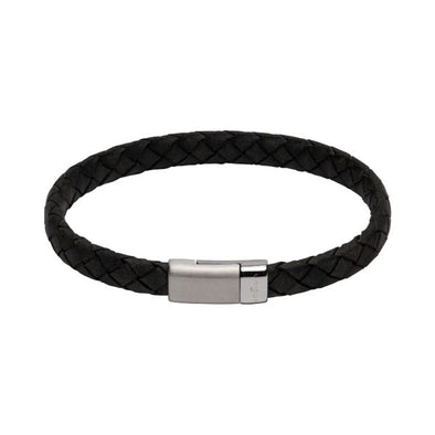 Unique & Co Black Leather Bracelet 21cm B446ABL/21cm