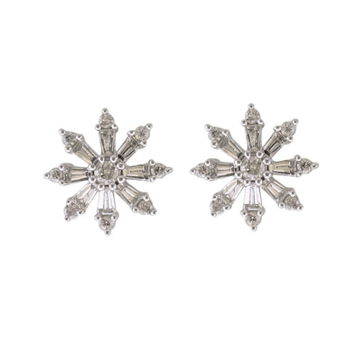 9CT White Gold Diamond Snowflake Earrings