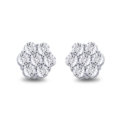 9ct White Gold Diamond Cluster Earrings